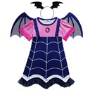 Kids Vampire Cos Costume Hair Band Girls Princess Summer Dresses Vampirin Children Birthday Party Fantasy Halloween Vampirina