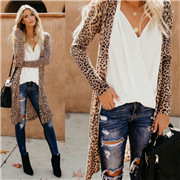 Women Loose Long Sleeve Cardigan Leopard Kimono Shawl Tops Blouse Coat Jacket