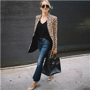 Leopard Jacket Women Sweater Top Warm Casual Winter Cardigan Long Sleeve Coat