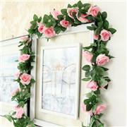 7 Feet Artificial Flower Silk Rose Leaf Garland Vine Ivy Wedding Garden Decor US