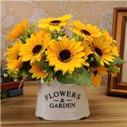 New 7 Head Fake Sunflower Artificial Silk Flower Bouquet Floral Decor TDO