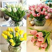 Artificial Tulips Flower Latex Real Touch Bridal Wedding Bouquet Home Décor