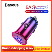Baseus 30W Quick Charge 4.0 3.0 USB Car Charger For Samsung Huawei Supercharge SCP QC4.0 QC3.0 Fast PD USB C Car Phone Charger