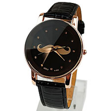 Mustache Leather Strap Watches