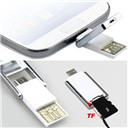 New Mini 2 In 1 Micro USB 2.0 OTG Adapter + Micro SD TF Card Reader for PC Samsung (Size: One Size)