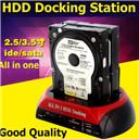 ESATA Dual IDE SATA OTB HUB USB 2.0 Reader HDD Docking Station Card Reader (Color: Red black)