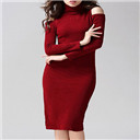 Stretchy Cold Shoulder Knitted Bodycon Dress