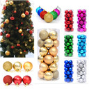 24Pcs Glitter Christmas Balls Baubles Xmas Tree Hanging Ornament Wedding Décor