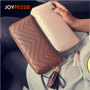 JOYPESSIE 2016 New Fashion leather Women Wallet 3 Fold tassel luxury brand casual PU Wallet Long Ladies Clutch Coin Purse