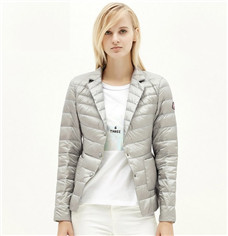 Women OL metal Zipper Jacket Lapel button single pitch, Ultra Lightweight Outwear