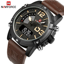 NAVIFORCE Men's Fashion Sport Watches Men Quartz Analog LED Clock Man Leather Military Waterproof Watch