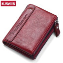 KAVIS 2017 New Vintage Small Women Wallets Female Genuine Leather Womens Wallet