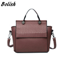 Bolish New Arrival Vintage Trapeze Tote Women Leather Handbags