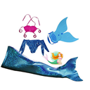 Mermaid Tail with Monofin Swimmable Tail Swimsuit 4PCS Sets