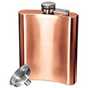 Copper Plated Stainless Steel 8 Ounce Hip Flask