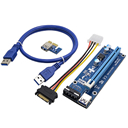 2017 New 0.6M PCIe PCI-E 1x to 16x PCI Express Riser Card + USB 3.0 Cable / SATA to 4Pin Molex Power Cord for BTC Miner Machine