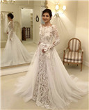 Lace Applique Illusion Long Sleeves wedding dress