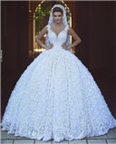 3D Floral Appliques Wedding Dress
