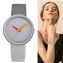 Women Watch Gray Contrast Leather Quartz Watch