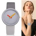 Women Watch Gray Contrast Leather Quartz Watch