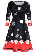 Casual Holiday Long Sleeve A Line Dress