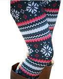 Snowflake Graphic Printed Stretchy Leggings Pants