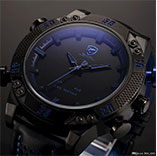 Shark Brand Sports Watches Black Blue Dual Time Auto Date Alarm Leather Band LED Male Clock Analog Military Quartz Men Digital Watch