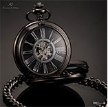 KS Antique Black Skeleton Dial Black Alloy Case Analog Hand Wind Clock Necklace Steampunk Men Mechanical Pocket Watch