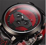 Shark 6 Hands Leather Strap Calendar Dual Time Zone Wristwatch Black Red 3D Dial Cycling Analog Quartz Multifunction Men Sport Watch