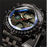 Brand New SHARK Digital Watches LCD Stainless Steel Strap Relogio Masculino Black Male Clock Men Wristwatches Quartz Military Watch