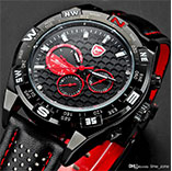 New SHARK Day Date 6 Hands Stainless Steel Case Leather Strap Black Red Quartz Sport Male Wrist Military Watch Men Relogio Masculino