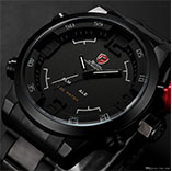 New SHARK LED Digital Dual Core Stainless Full Steel Black White Alarm Outdoor Military Sports Fashion Casual Mens Quartz Army Watch