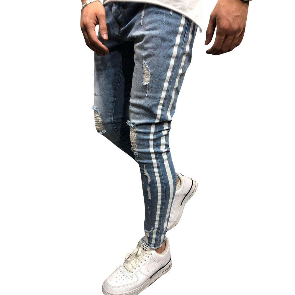 Jeans Striped Distressed