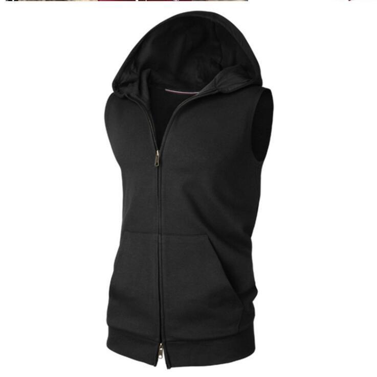 Sleeveless Mens Hoodie Cardigan Sport Sweatershirt
