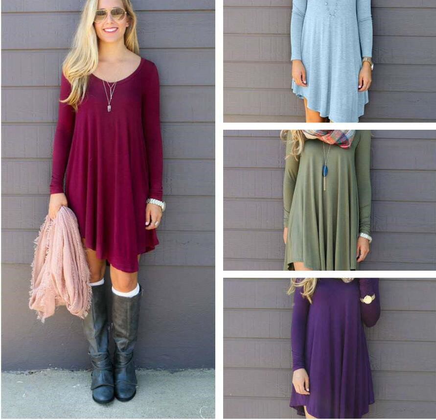 Casual Long Sleeve Dresses Asymmetical Empire