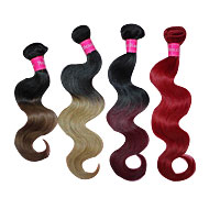 Red Human Weft Hair Weave