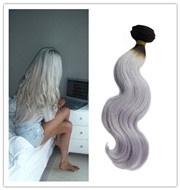 1B grey Silver Ombre Human Hair Weave