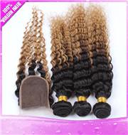 Ombre Color Hair Bundles with Lace Closure