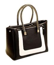 Black and white contrast color stitching Handbag