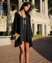 Long Sleeve V-neck Mini Dresses