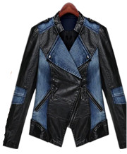 Denim & PU Splicing Jackets