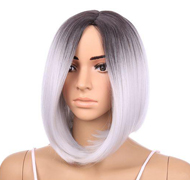 Ombre Black&Gray Lace Front Wig