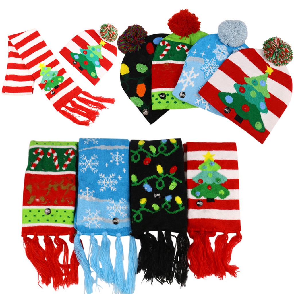 Baby Sequin Christmas Hat LED Light-up Knit Hat Beanie Scarf Set