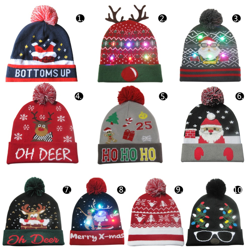 LED Christmas Hats Beanie Sweater Christmas Santa Hat Light Up Knitted Hat for Kid