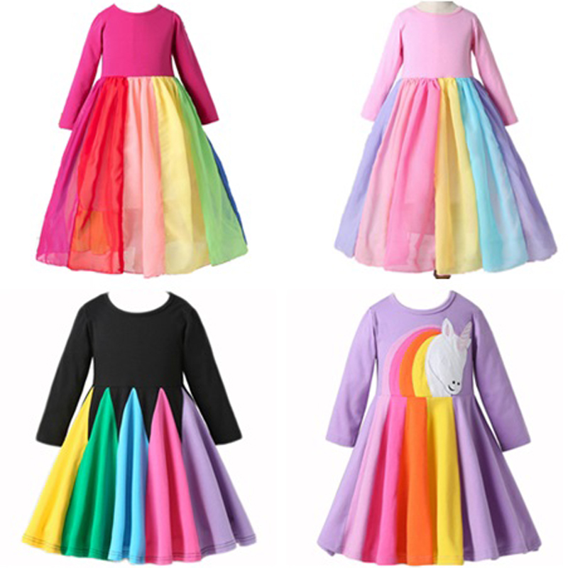 2020 New Girl Dress Cotton Children Clothes Long Sleeve Girls Rainbow Dresses