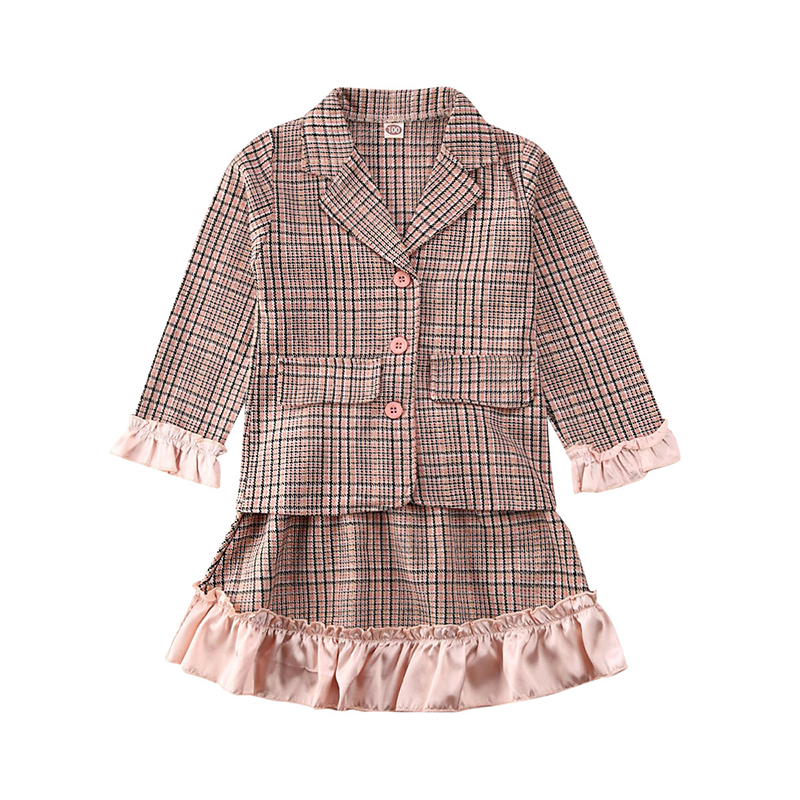 College style 2020 Spring Child Kids Baby Girls Plaid Blazer + Mini skirt 2pcs Formal Party Outfit Clothes