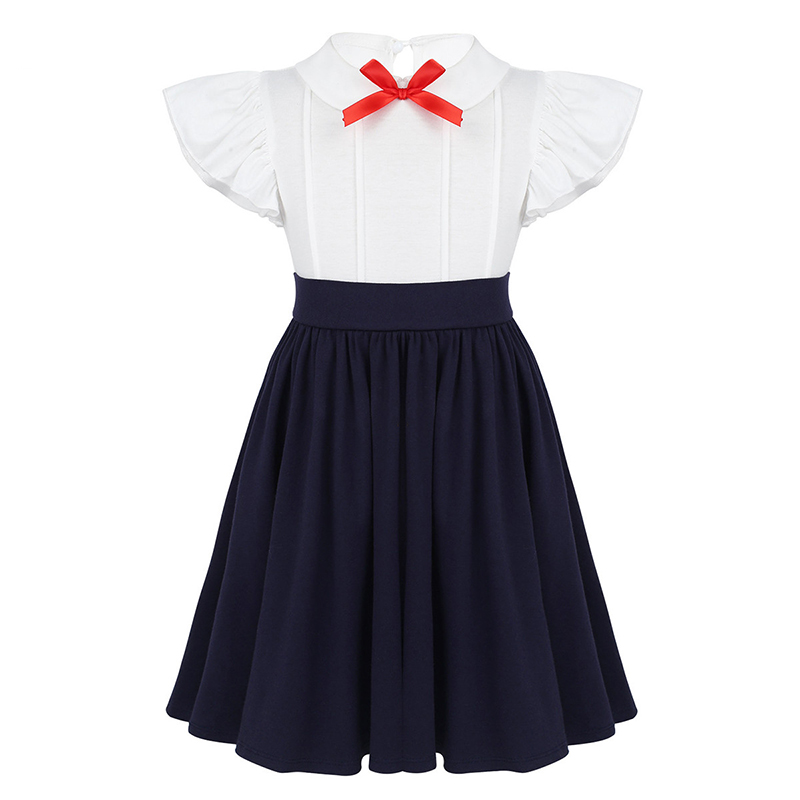 Kids Girls Ruffled Flutter Sleeves Bowtie High Waist Cotton Twirly Costume Dress