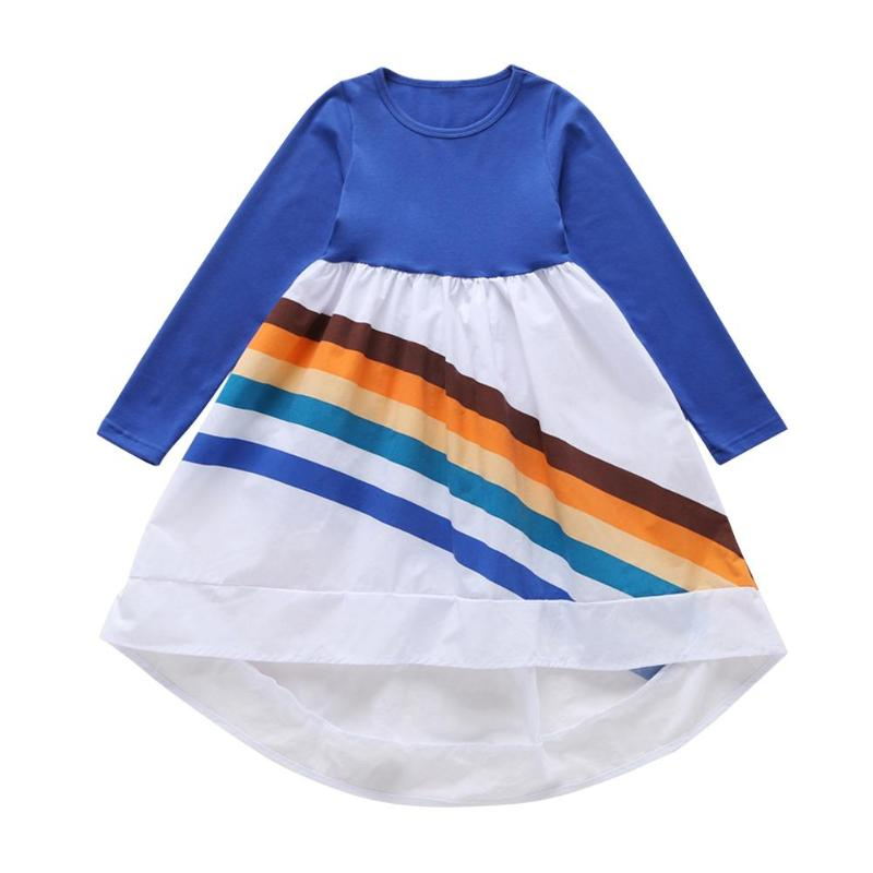 Children Girl Contrast Color Rainbow Dress Comfort Soft Long-Sleeves Personality Printing Princess Cotton Clothes