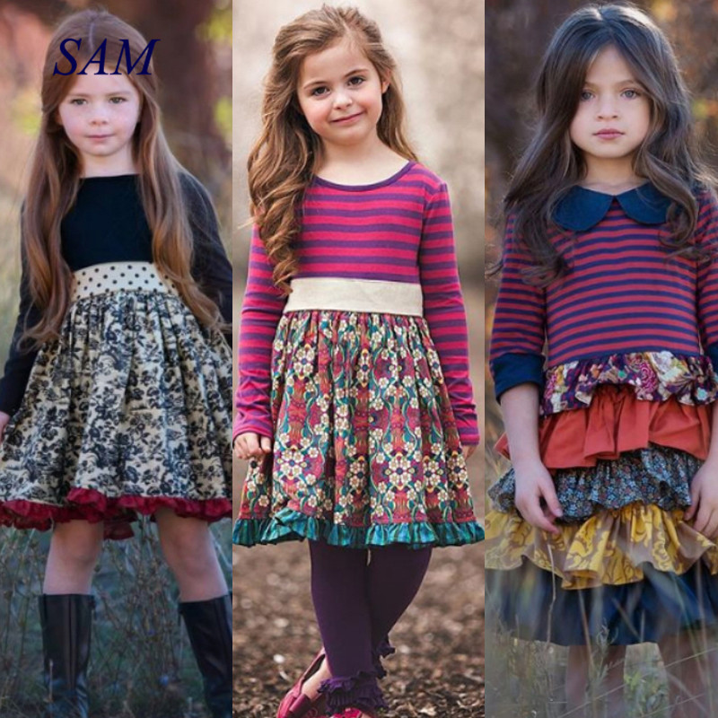 2020 INS Girls Spring and Autum Dress Kids Flower Pastoral Style Striped Long-sleeved Dresses