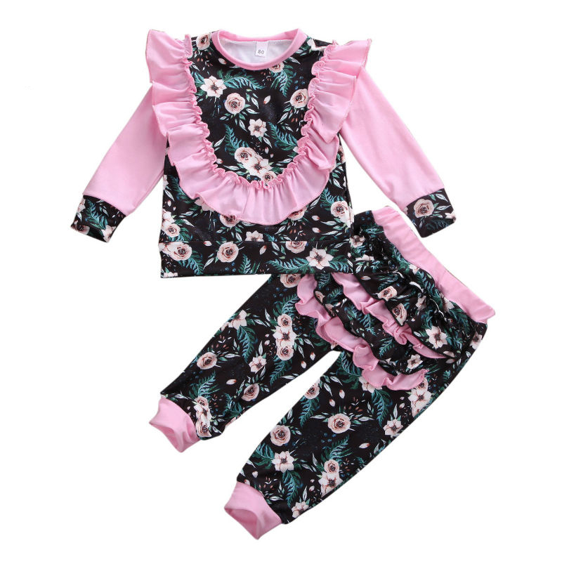 2020 Spring Newborn Baby Girls Sweatshirt Ruffles Pants Flower Print Long Sleeve Tops Infant kids Fall clothes